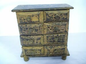 Antique Style 8 Drawer Table Top Footed Wood Chest Organizer 10 X 9 X 4
