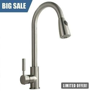 Commercial Single Handle High Arch Brushed Nickel Kitchen Faucet Pull Down Spray