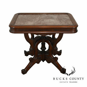 Victorian Walnut Tennessee Marble Top Parlor Table