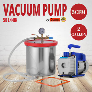 50 L Min Vacuum Chamber And 3 Cfm Single 2gallon Stage Pump Degassing Silicone
