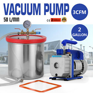 50 L m Vacuum Chamber And 3cfm Single Stage Pump Degassing Silicone Hose