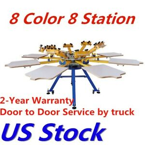 Usa 8 Color 8 Station Silk Screen Printing Machine T shirt Press Printer