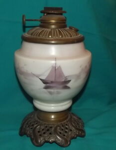 Vintage Brass Ornate Base Hand Painted Ship Design Climax Removable Oil Lamp
