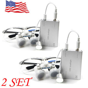 2pcs Dental Surgical Binocular Loupes 3 5x Optical Glass 420mm led Head Lamp Too