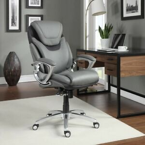 Computer Office Chair Desk Seat Executive Leather Light Grey Furniture Student