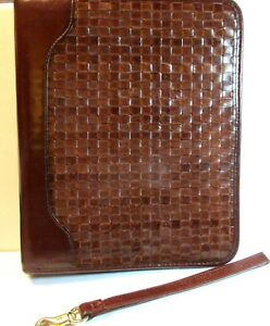 Franklin Quest Covey Brown Woven Calfskin Leather Binder Planner Zip 7 Rings Usa