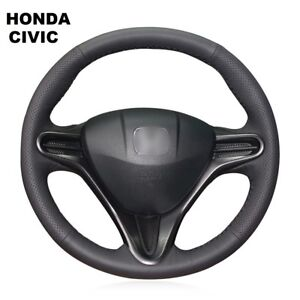 Black Leather Steering Wheel Cover Wrap Honda Civic Civic 8 2006 2011 3 Spoke