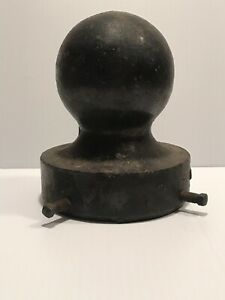 Antique Vintage Round Cast Iron Ball Post Hitching Post Finial Caps Fence Topper