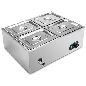 4 pan Food Warmer Steam Table Steamer Electric Buffet Countertop Portable 850 W