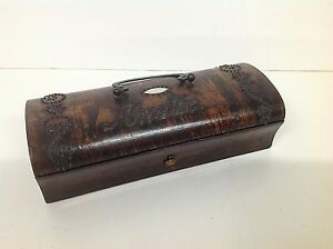 French Victorian Burr Walnut Jewellery Or Sewing Box With Intricate Studded Lid