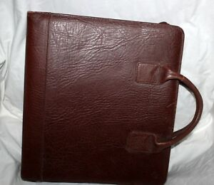 Vintage Franklin Covey Usa Brown Leather 7 Ring Binder Briefcase Carry Handles