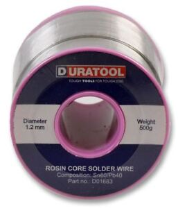 Duratool Solder Wire 60 40 18awg 1 2mm 500g Reel