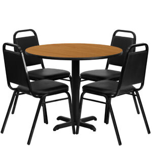 36 Round Natural Laminate Table Set W 4 Black Trapezoidal Back Banquet Chairs