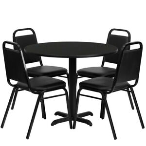 36 Round Black Laminate Table Set With 4 Trapezoidal Back Banquet Chairs
