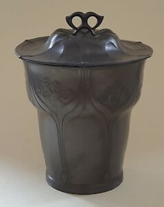 Orivit Pewter Vintage Art Nouveau Jugendstil Antique Biscuit Barrel Box