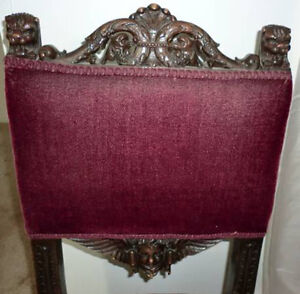 Antique Griffin Gryphon Claws Wings Angel Chair Burgundy Mohair Dark Wood Gothic