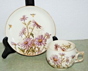 Antique 19th Century Hand Painted Purple Daisies Porcelain Cup Saucer Set Bee