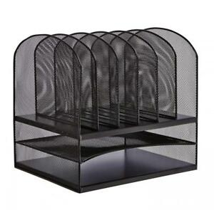 Safco Products Onyx Mesh 2 Tray 6 Sorter Desktop Organizer 3255bl Black
