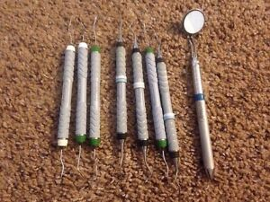 Hu Friedy Periodontal Curettes Lot Of 7 With Double Sided Mirror