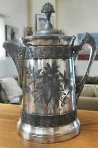 Atq 1890 Southington 300 Triple Slv Plated Victorian Coffee Pot Water Pitcher