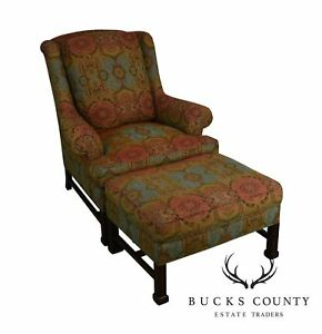 Hickory Chair Chippendale Style Marlborough Leg Lounge Chair With Ottoman