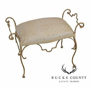 Unusual Woven Leather Seat Wrought Iron Vanity Bench