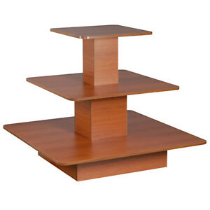 Rolling 3 Tier Display Table Square Boutique Clothing Store Wood Cherry New