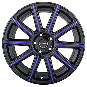 4 Gwg Mod 18 Inch Staggered Black Blue Mill Rims Fits Mitsubishi Evo 7 8 9 Wideb