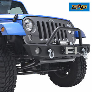 07 18 Jeep Wrangler Jk Front Bumper With Oe Fog Light Holes Winch Plate