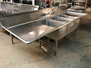Load King Stainless Steel 107 X 36 5 Commercial 3 Compartment Sink 2 Faucets
