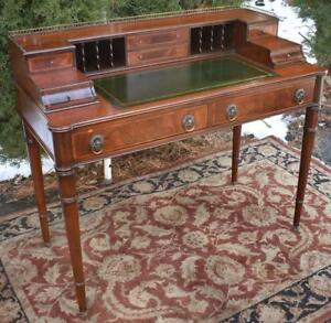 1920s English Regency Mahogany Leather Top Writing Office Desk Bronze Gallery