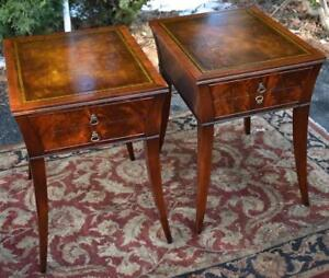 1920s Weiman English Regency Flame Mahogany Leather Top Nightstands Side Tables