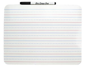 The Classics Dry Erase Rectangular Two sided Lined plain Board With Marker 9 X
