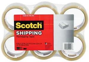 Scotch Shipping Packaging Tape 2 83 In X 54 6 Yards Clear Pack Of 6