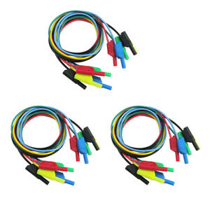 15pcs 4mm Banana Plug Soft Silicone Test Cable Lead For Multimeter 1m 3 3ft