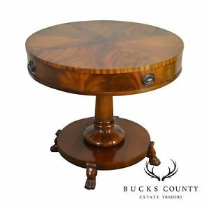 Flame Mahogany Vintage Round Regency Style Drum Or Center Table