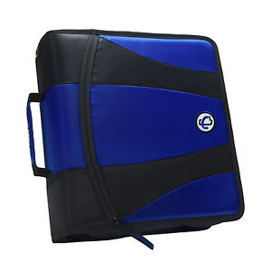Case it Dual Ring Zipper Binder D ring 2 Inches Blue