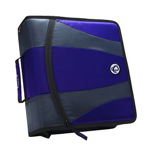 Case it Dual Ring Zipper Binder D ring 2 Inches Purple