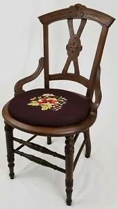 Antique Eastlake Victorian Carved Walnut Parlor Chair Needlepoint Seat Vintage