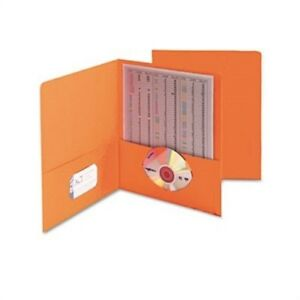 Two pocket Portfolio Embossed Leather Grain Paper Orange 25 box 2 Pack