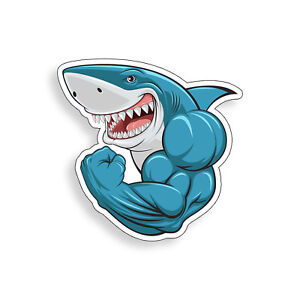 Muscle Shark Sticker Workout Gym Male Laptop Cup Car Vehicle Window Bumper Decal