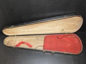 Antique Wood Coffin Violin Fiddle Travel Instrument Bow Storage Case Old Vintage