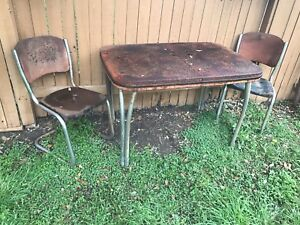 Antique Old Vintage Metal Table And Two Chairs Rusty Patina Farm House Decor