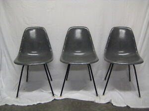 Set Of 3 Charles Eames Grey Fiberglass Chairs 1957 Excellent