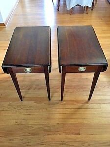 Statton Trutype Americana Cherry Drop Leaf Accent Tables Set Of 2