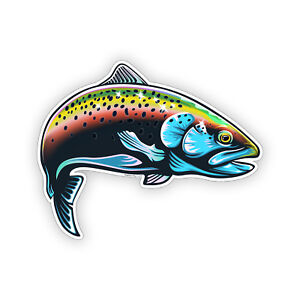 Rainbow Trout Fish Sticker Sea Laptop Cup Cooler Car Vehicle Window Bumper Decal