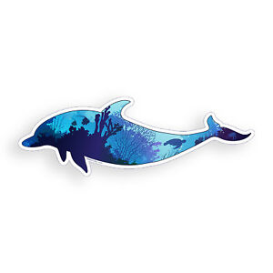 Dolphin Sticker Underwater Ocean Fish Laptop Cup Car Vehicle Window Bumper Decal