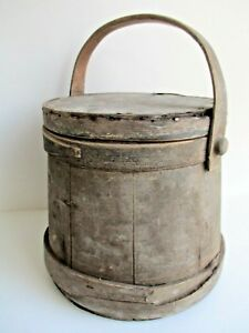 Antique Firkin Old Dry Original Grey Paint Sugar Bucket Country Kitchen Early