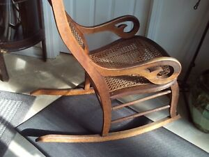 Antique Cane Rocking Chair Great Lines The Bowed Wood Is Just Beautiful