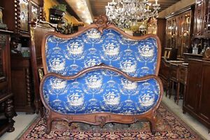 French Antique Walnut Full Or Queen Size Wooden Panel Bed With New Upholstery